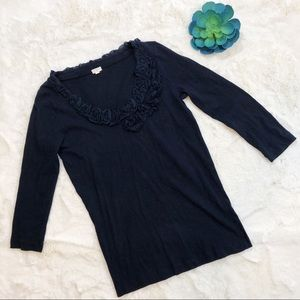 J CREW | blue cotton long sleeve flower buds top